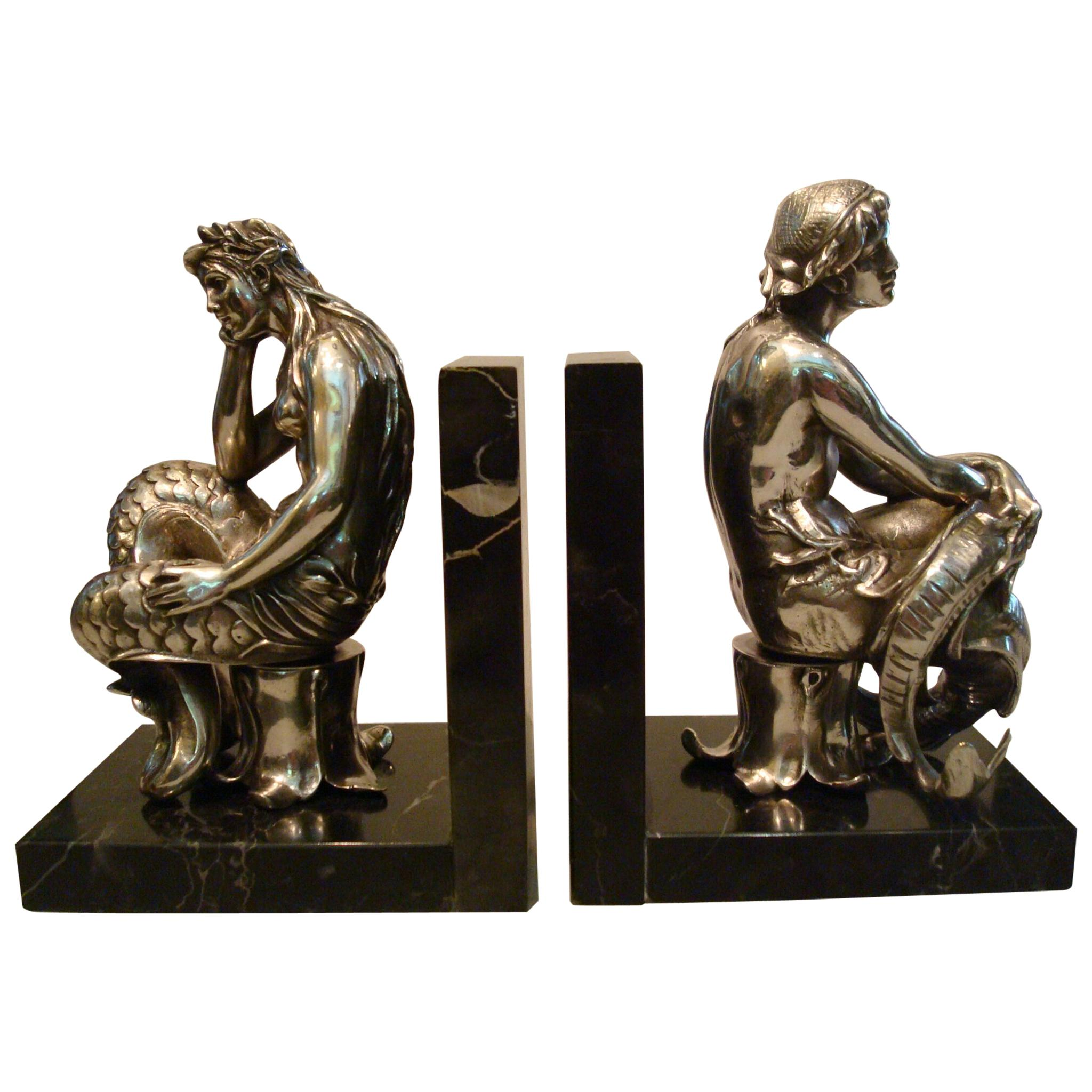 Silvered Bronze Bookends Sculptures of a Mermaid and Merman, France, 1900