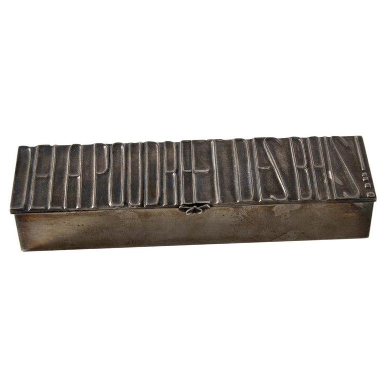 """Silvered Bronze Box """"De la poudre et des bals !"""" For Sale"""