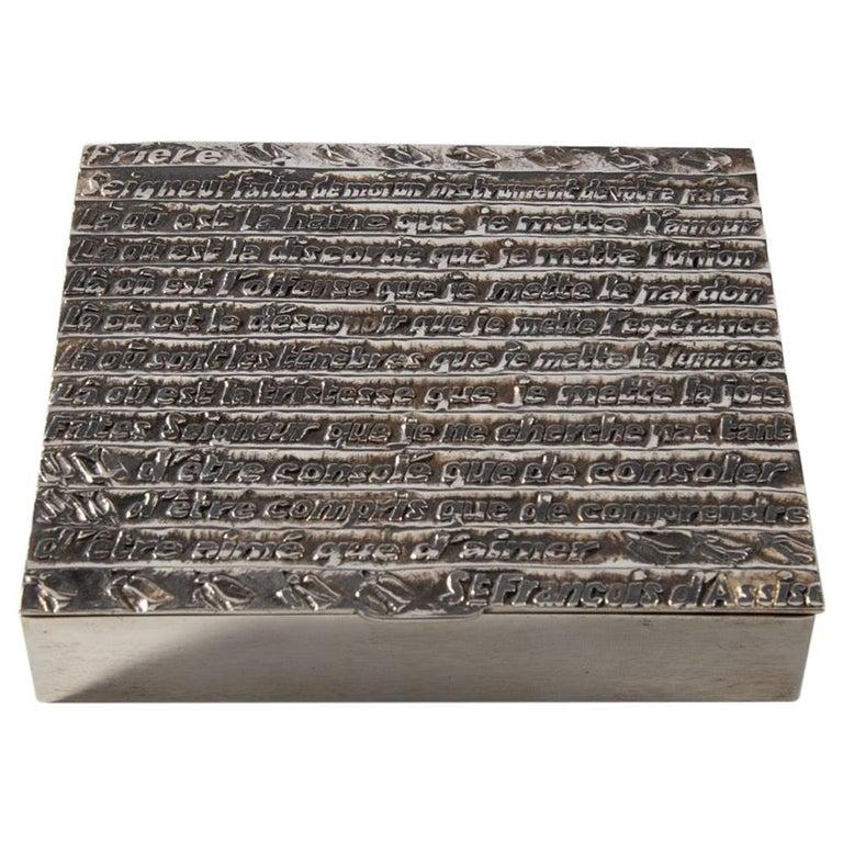 """Silvered Bronze Box """"La Prière De Saint François"""" For Sale"""
