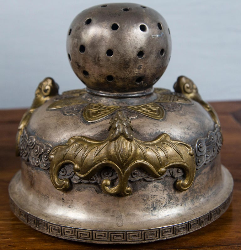 Silvered Bronze Chinese Incensor In Good Condition For Sale In Woodbury, CT