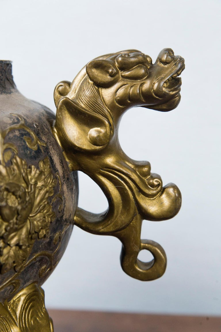 20th Century Silvered Bronze Chinese Incensor For Sale