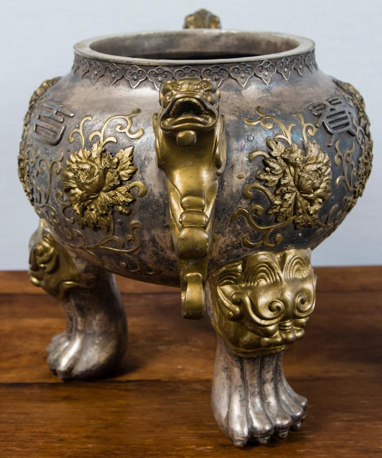 Silvered Bronze Chinese Incensor For Sale 3