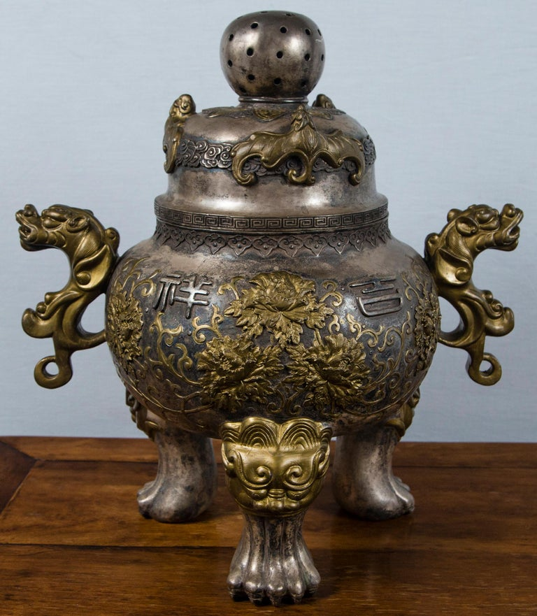 Silvered Bronze Chinese Incensor For Sale 4