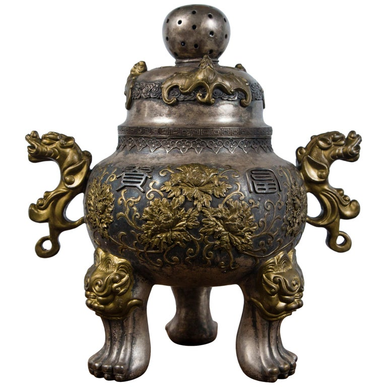 Silvered Bronze Chinese Incensor For Sale