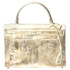 Silvered Bronze Christian Maas Birkin Bag Sculpture and Art Limited Edition