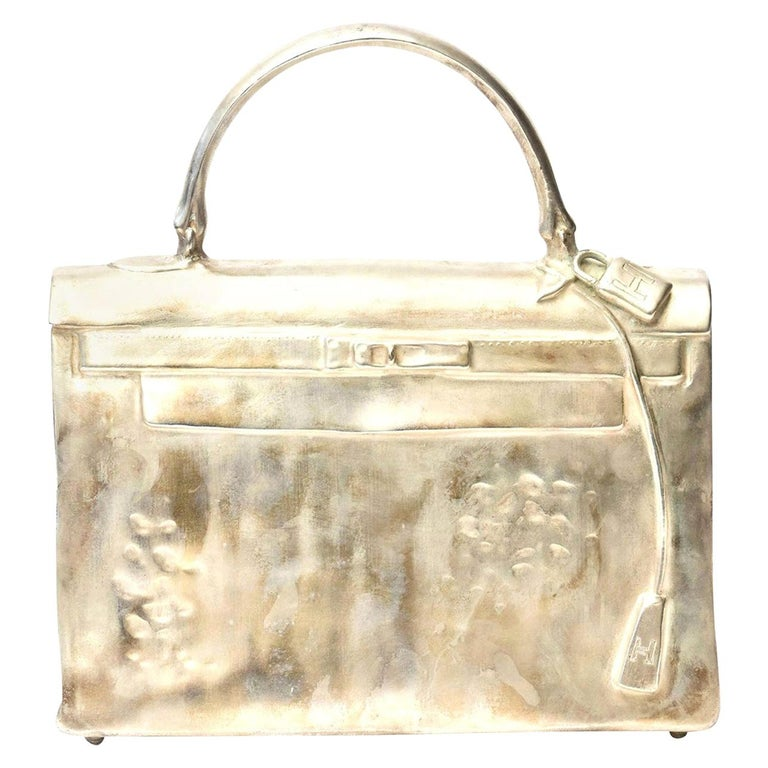 Silvered Bronze Christian Maas Birkin Bag Sculpture & Art Limited Edition French For Sale