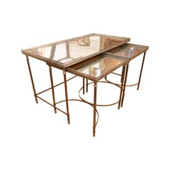 Silvered-Bronze Coffee Table and Two Nesting Side Tables with Églomisé Tops