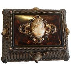 Silvered Bronze, Enamel, Tortoiseshell Jewelry Casket
