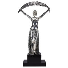 "Silvered Bronze Figure ""Femme a la Palme"" by Demetre Chiparus"