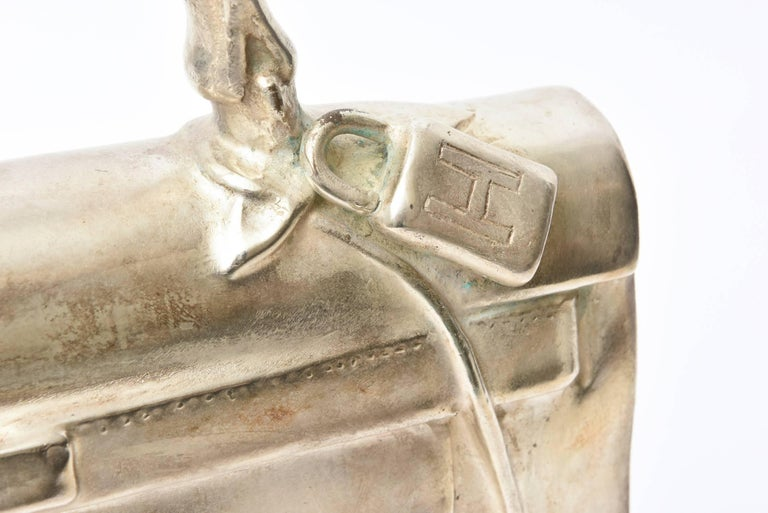 Modern Silvered Bronze Christian Maas Birkin Bag Sculpture & Art Limited Edition French For Sale