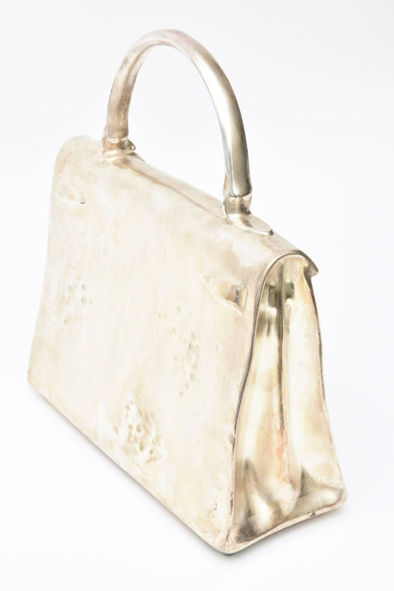 Silvered Bronze Christian Maas Birkin Bag Sculpture & Art Limited Edition French In Good Condition For Sale In North Miami, FL