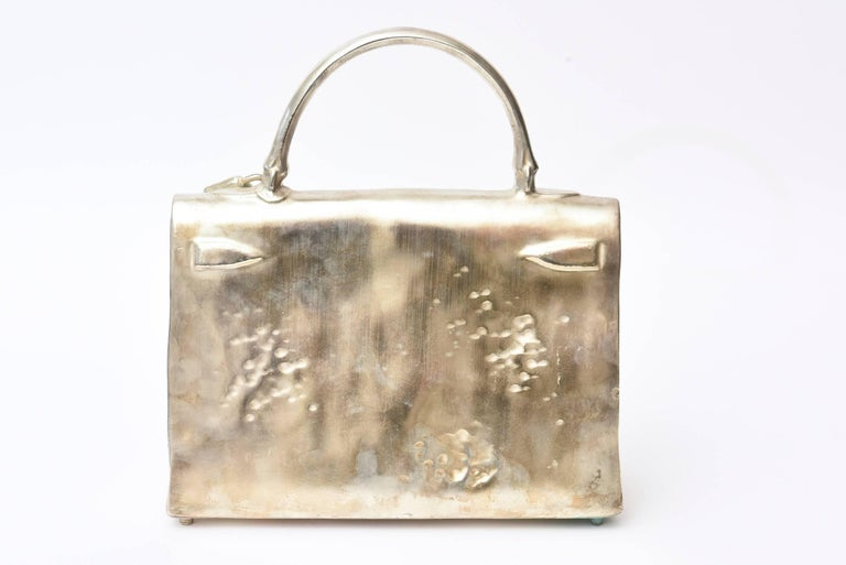 Silvered Bronze Christian Maas Birkin Bag Sculpture & Art Limited Edition French For Sale 1