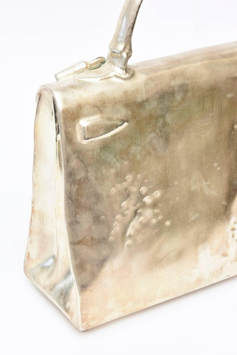Silvered Bronze Christian Maas Birkin Bag Sculpture & Art Limited Edition French For Sale 2