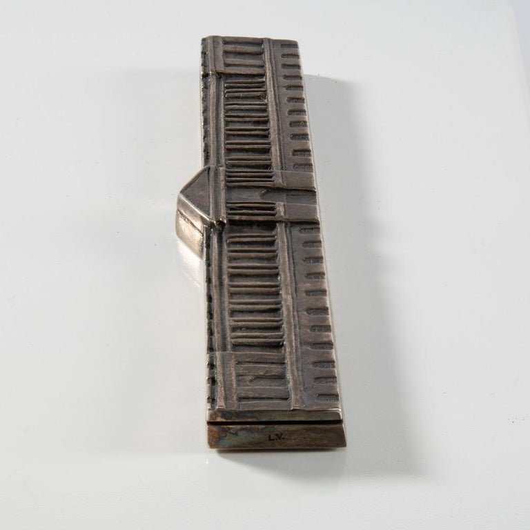 Mid-Century Modern Silvered Bronze Paperweight and Ruler