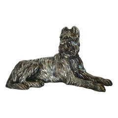 Silvered Bronze Sculpture of a Briard Dog Signed Sanson, France, 1900