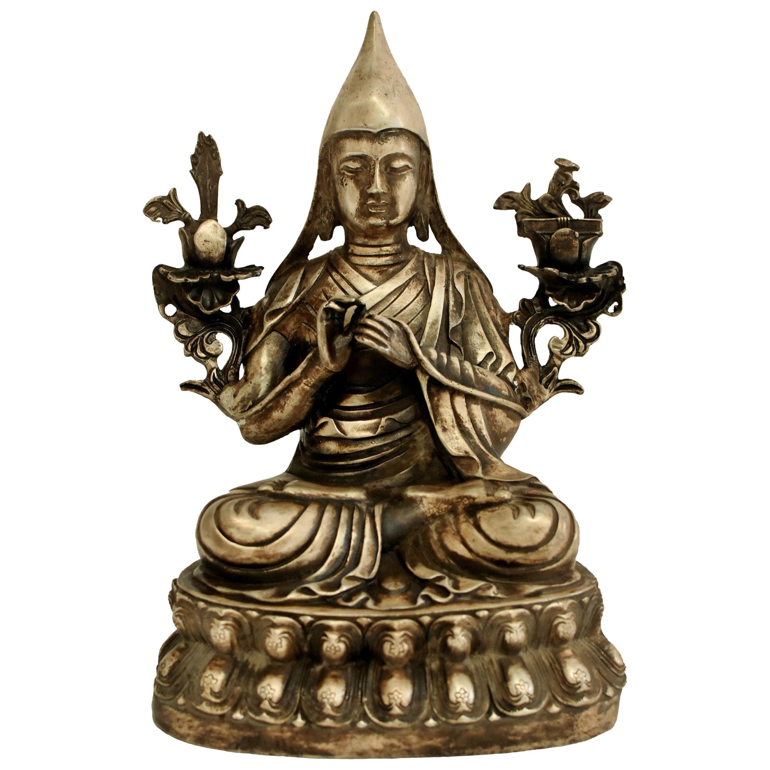 Silvered Bronze Tibetan Tsongkhapa Statue