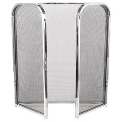 Silvered Framed / Mesh Interior Fire Place Screen