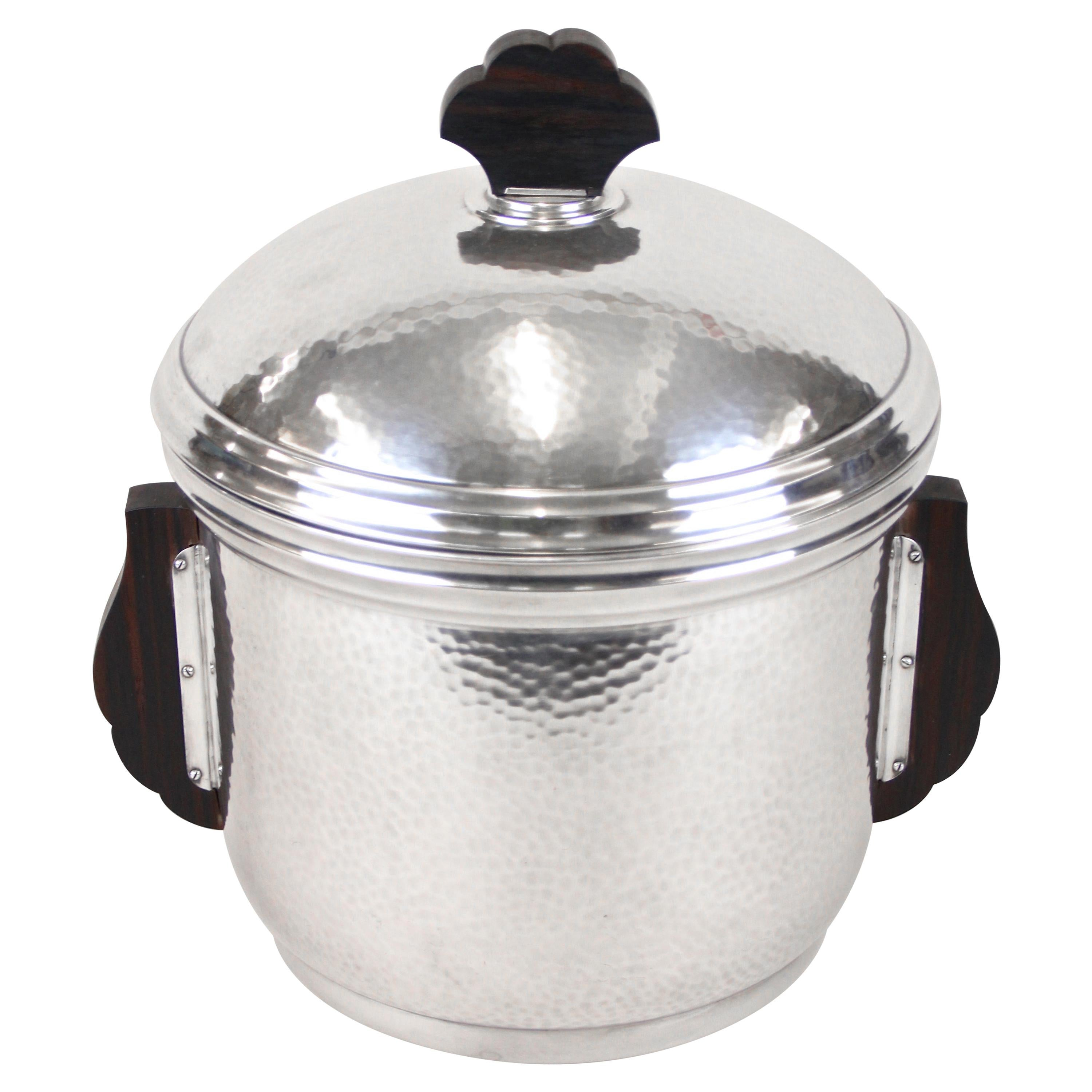 Silvered Ice Bucket with Lid and Palisander Handles by Wmf, Germany, circa 1915