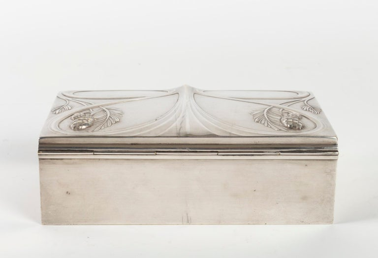 French Silvered Metal Art Nouveau Period Box, Satin Furnished Interior, 1910 For Sale