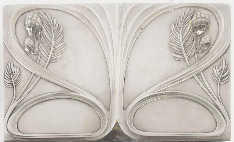 Early 20th Century Silvered Metal Art Nouveau Period Box, Satin Furnished Interior, 1910 For Sale