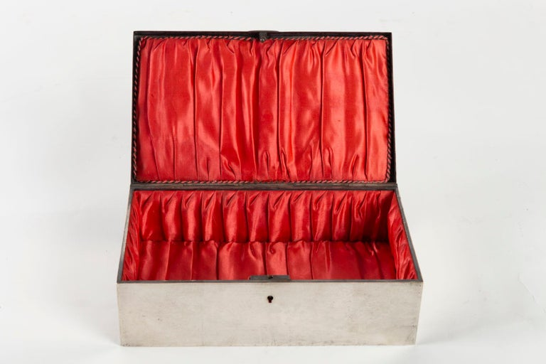 Silvered Metal Art Nouveau Period Box, Satin Furnished Interior, 1910 For Sale 1