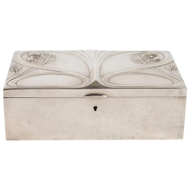 Silvered Metal Art Nouveau Period Box, Satin Furnished Interior, 1910 For Sale
