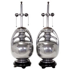 Silvered Mid-Century Modern Lamps