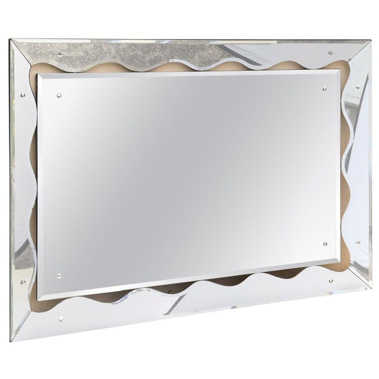 Silvered Mirror Mid-Century Modern For Sale