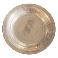 Silvered Porcelain Platter Signed and Dated on Verso