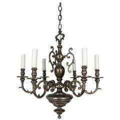 Silvered Solid Bronze Dutch Baroque Chandelier