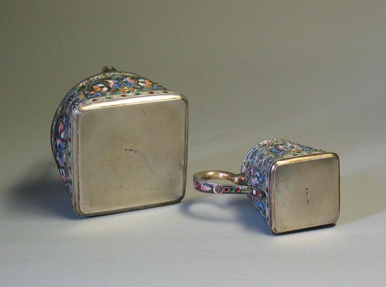 Russian Silver Gilt & Cloisonne Enamel Jug/Basket 11th Artel Moscow 1908-1917 For Sale 5