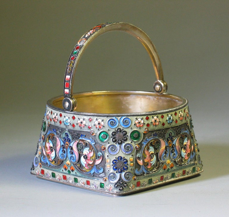 Russian Silver Gilt & Cloisonne Enamel Jug/Basket 11th Artel Moscow 1908-1917 In Good Condition For Sale In Ottawa, Ontario