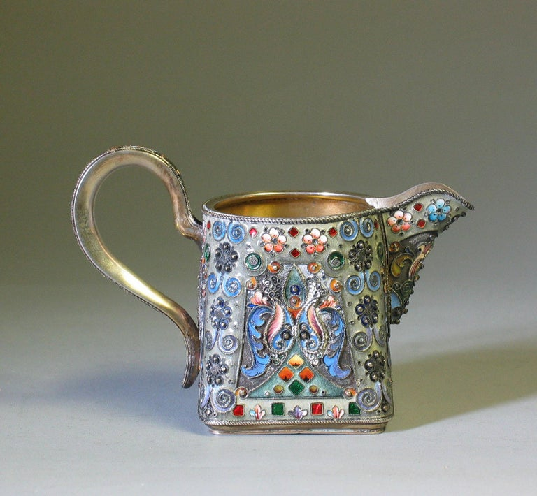 Russian Silver Gilt & Cloisonne Enamel Jug/Basket 11th Artel Moscow 1908-1917 For Sale 1