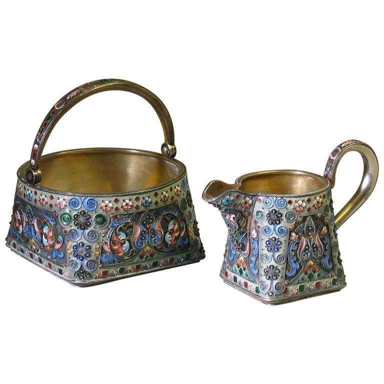 Russian Silver Gilt & Cloisonne Enamel Jug/Basket 11th Artel Moscow 1908-1917 For Sale