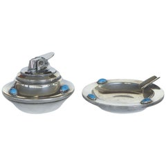 Silverplate Smoking Set with Inset Turquoise Stones