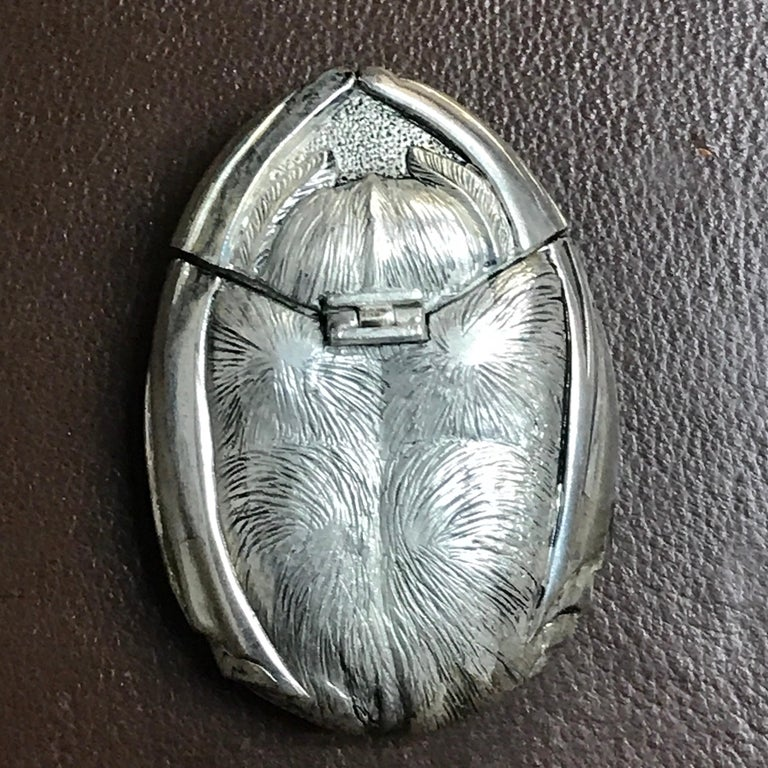 Silver Plated and Enameled Bat Matchsafe For Sale 5
