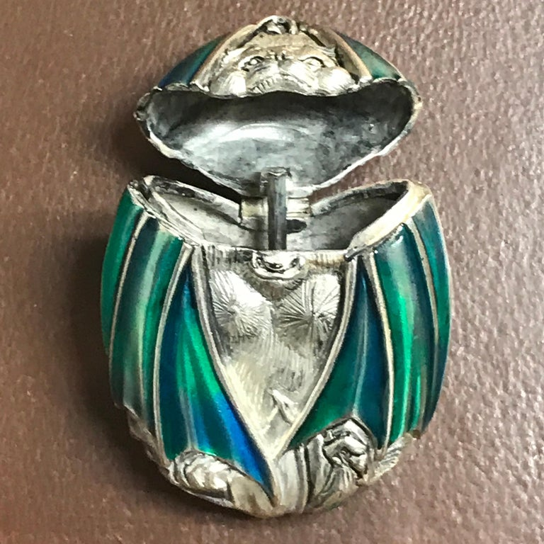 English Silver Plated and Enameled Bat Matchsafe For Sale
