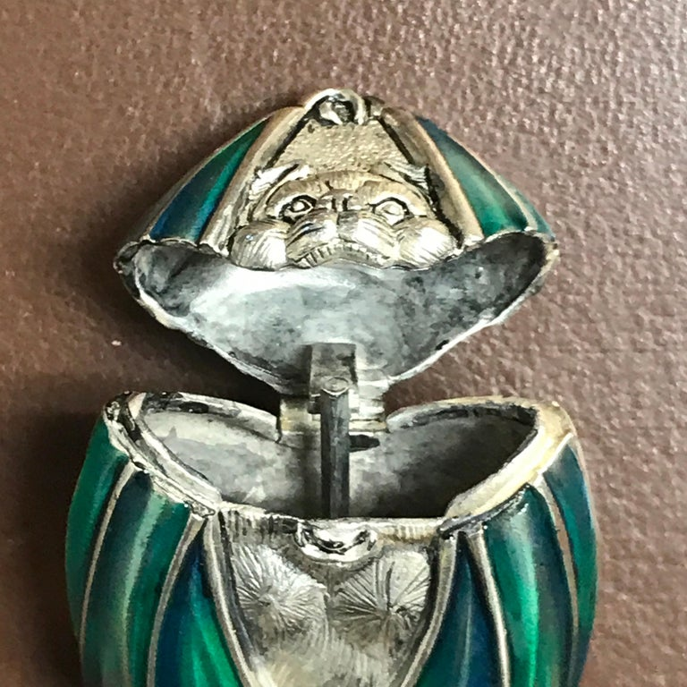 Silver Plated and Enameled Bat Matchsafe In Good Condition For Sale In West Palm Beach, FL
