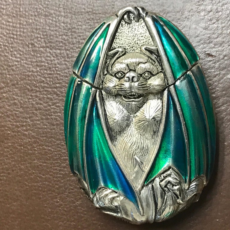 20th Century Silver Plated and Enameled Bat Matchsafe For Sale