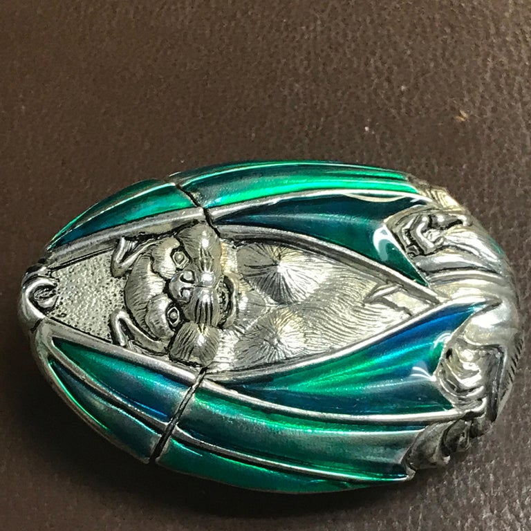 Silver Plated and Enameled Bat Matchsafe For Sale 2