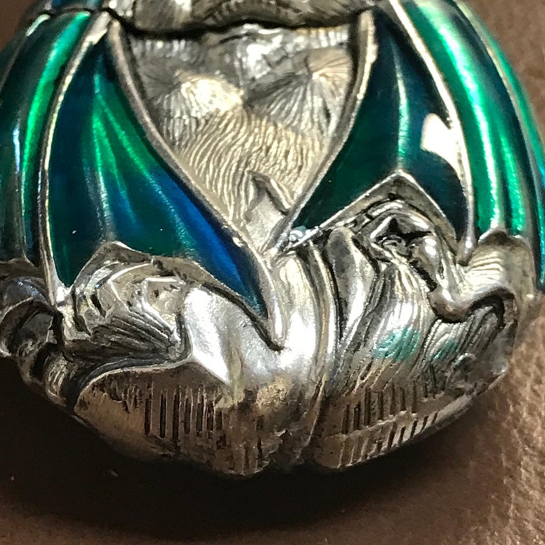Silver Plated and Enameled Bat Matchsafe For Sale 3