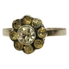Swedish Silverring with clear stones vintage Flower 1962