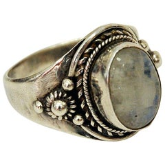 Silverring with Pearlcolored Stone and vintage Decorations, 1940s