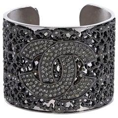 Silvertone Chanel Logo Cuff Bracelet