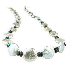 Silvery Coin Pearls and Black Opal Necklace