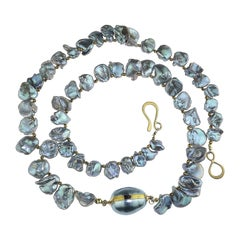 Silvery Iridescent Graduated Keshi Pearl Necklace