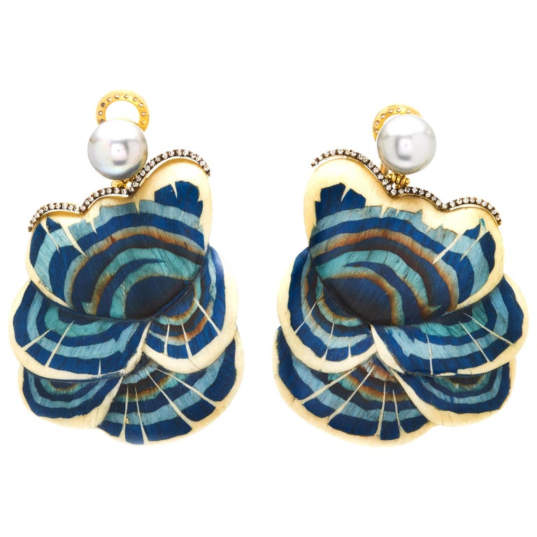Silvia Furmanovich Marquetry Blue Mushroom Earrings For Sale