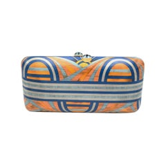 Silvia Furmanovich Marquetry Clutch in Blue and Yellow Pattern