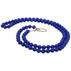 Silvia Kelly 18 Karat Gold and Lapis Lazuli Beaded Opera Length Necklace