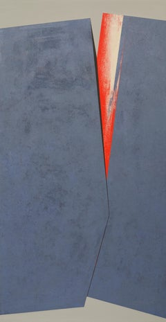 Central Fissure with Red, large Painted Canvas by Silvia Lerin